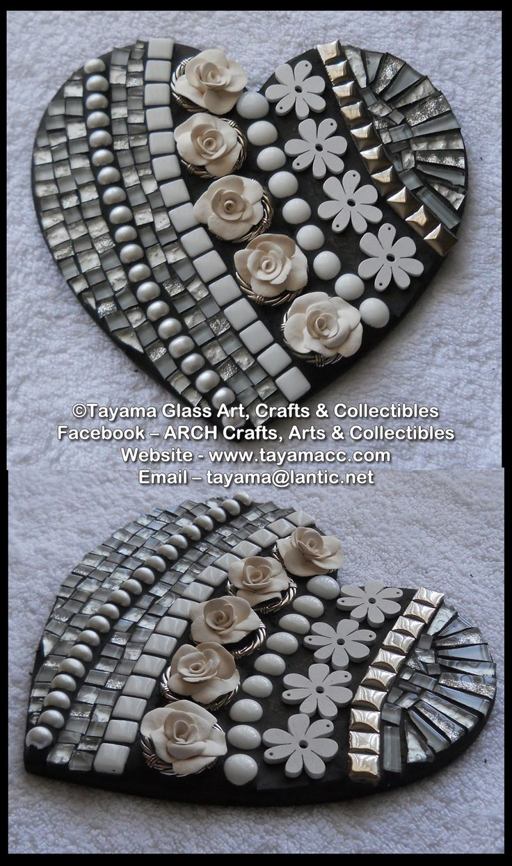 Mosaic Heart - White -https://www.facebook.com/groups/TayamaCrafts/