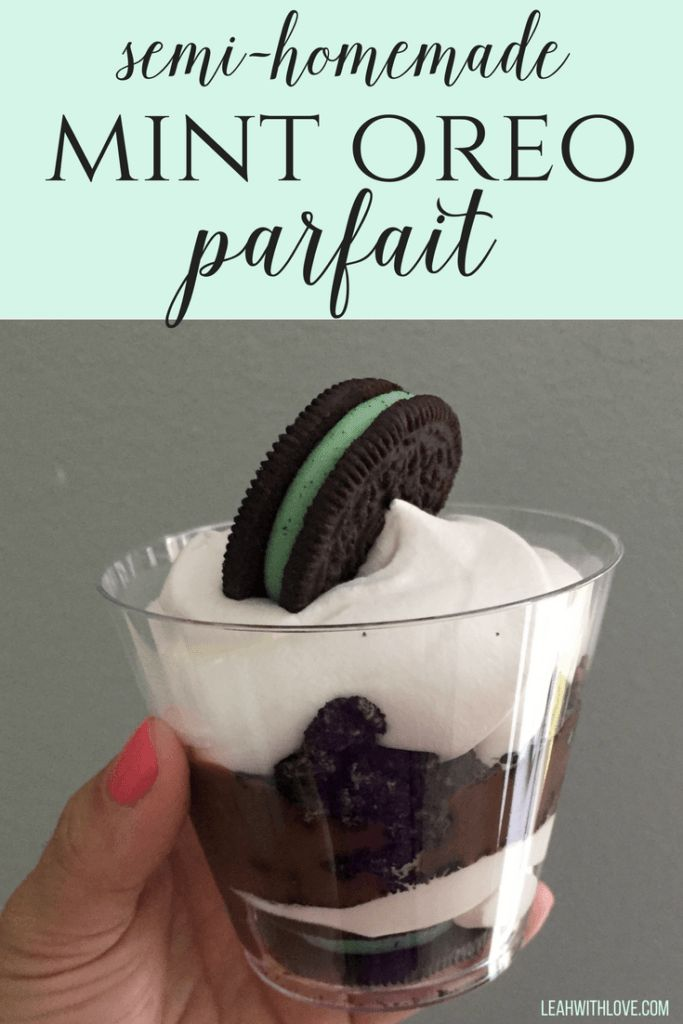 semi-homemade mint oreo parfait. Easy to make, something the kids can easily put together. A family favorite dessert.