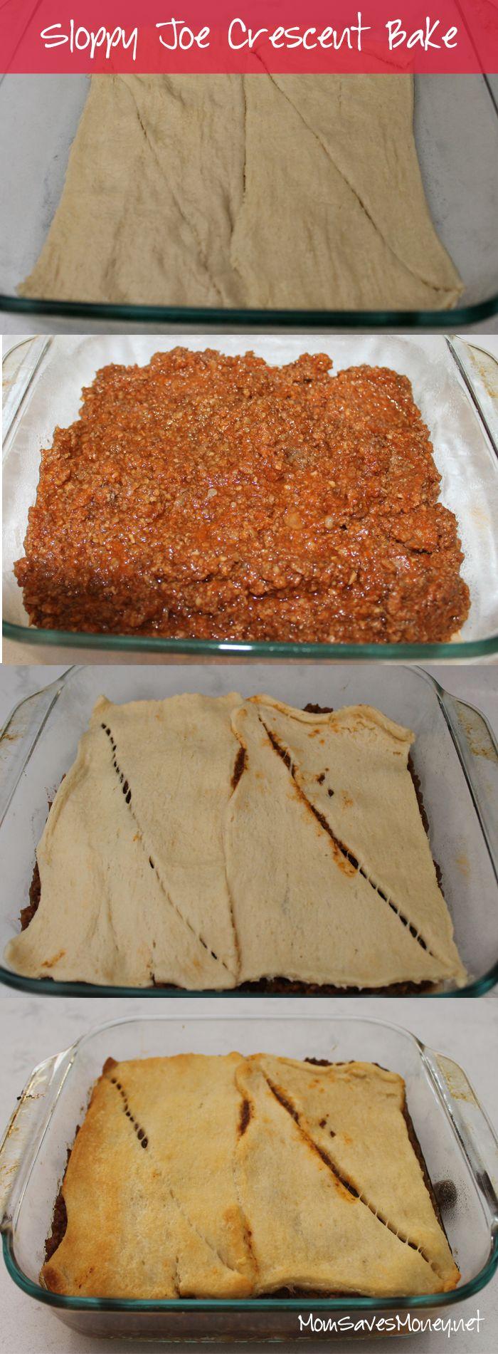2-ingredient sloppy joe crescent bake! Great for leftover sloppy joes.