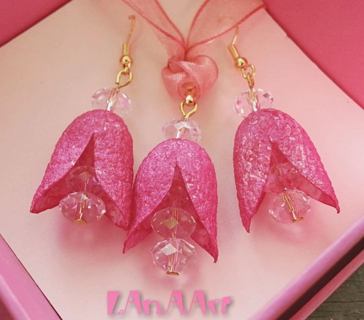 PINK SILK FLOWER Fairies of mulberry silk cocoons and crystals by LanAArt