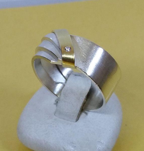 Vintage Ringe - 17,9 mm Ring Silber 925 teilvergoldet Stein SR268 - ein Designerstück von Atelier-Regina bei DaWanda