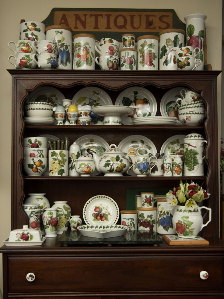 Portmeirion Pottery -- Pomona pattern, on a Welsh Dresser. This beautiful display was created by Cathy. I'm envious of how she put the whole collection together!