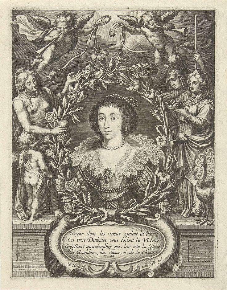 Portret van Henrietta Maria van Bourbon, koningin van Engeland, Cornelis Galle (I), ca. 1625 - ca. 1649