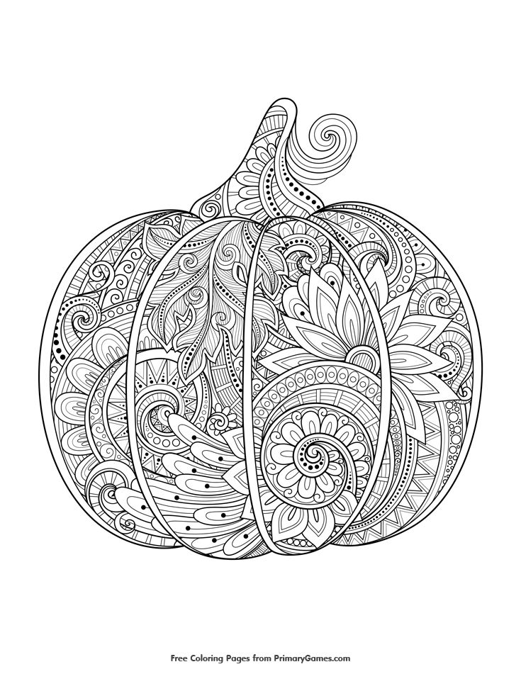 Fall Coloring Page Zentangle Pumpkin