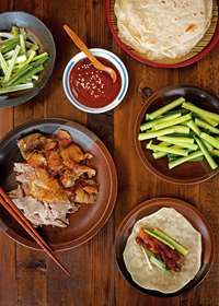 Five-spiced duck pancakes