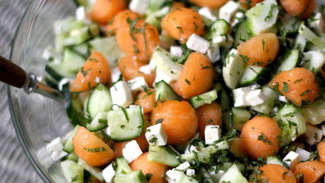 Cucumber cantaloupe feta and mint salad... Finally can use all those cucs from the garden!