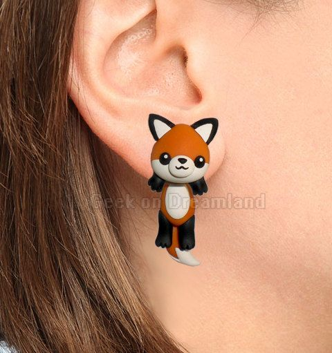 Red Orange Fox Clinging Earrings por GeekonDreamland en Etsy
