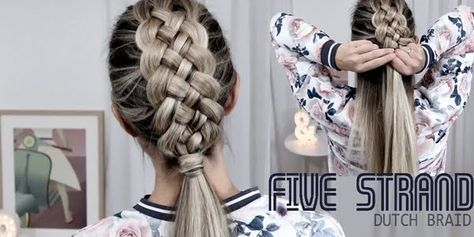 Beautiful Five Strand Dutch Braid Tutorial - How to DIY!