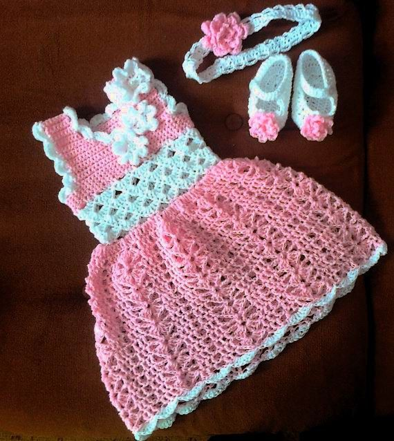 Pink Baby Girl Dress Baby Clothes Girl Clothing by paintcrochet, $30.00