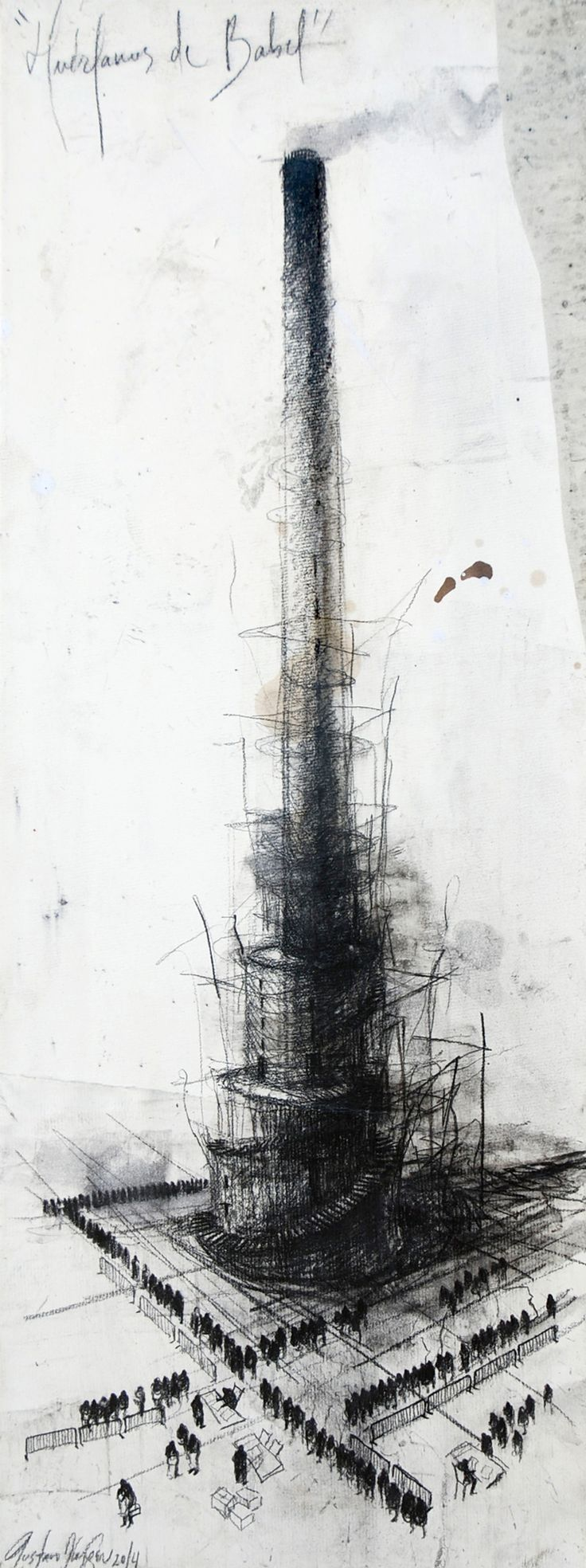 Huérfanos de Babel / 70 x 35 cm / mixta sobre lino / 2014