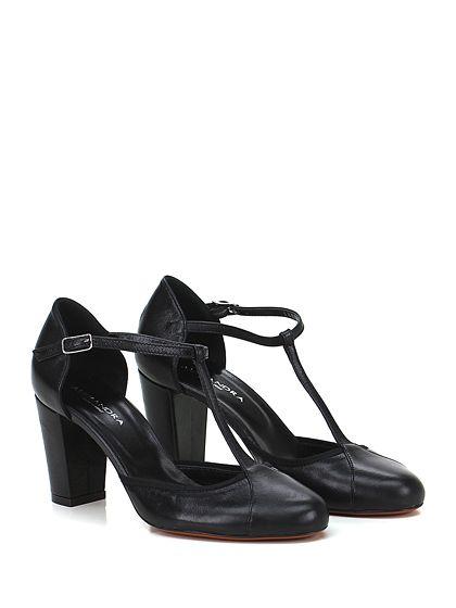 Alexandra - Scarpa con tacco - Donna - Scarpa con tacco in pelle con cinturino su collo piede e suola in cuoio. Tacco 80. - NERO - € 129.00