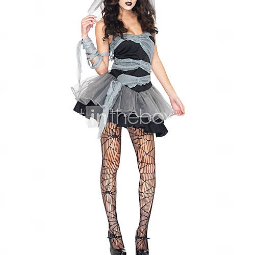 Sexy Духа невесты Труп Свадебный взрослых Хеллоуин костюм (3pieces)