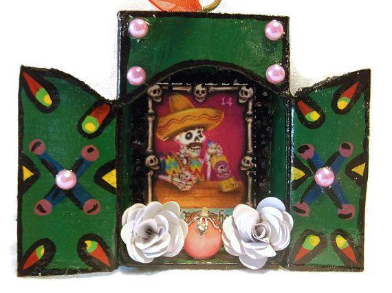 Upcycled Matchbox Ornament//El Borracho Loteria by CherryPicks