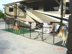 Pin By Robin Hackler On Rv Living Portable Dog Fence Portable Dog Kennels Dog Yard