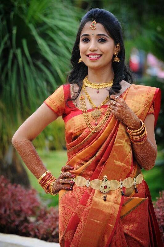 Super bride, sooper silk saree! #southindian #bride #wedding