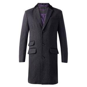 Mens Stylish Fashion Smart Heavy Wool Blend Herringbone Single Breasted Covert Overcoat Coat DJK Dexter (Charcoal Grey)