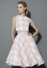 Check and Chic Cropped Top and Skirt Set
