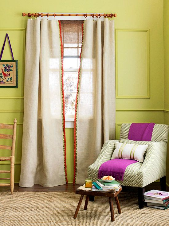 apple green walls, linen sheers, and a hint of wildberry purple. love it.