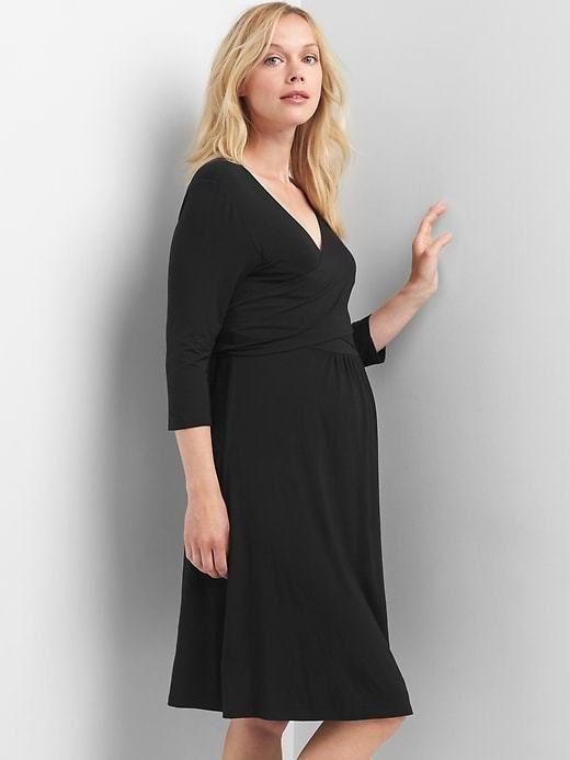 1f918f7727a83 Gap Maternity solid three-quarter sleeve wrap dress #pregnancyfashionfall