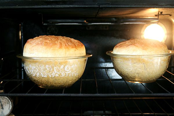 My mother's peasant bread! If forced, I had to pick one and only one recipe to share with you that this — my mother's peasant bread — would be it, I am serious. No knead, baked in pyrex bowls--started at 4pm, on the dinner table at 7pm!