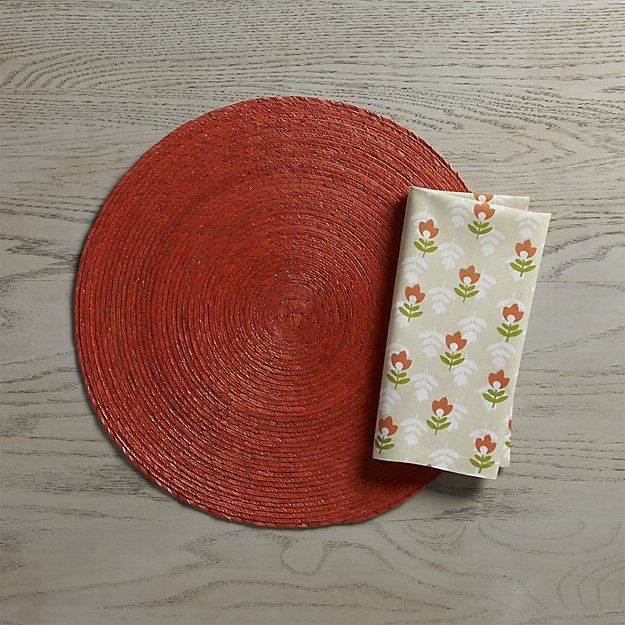 Tropical Palm Spice Orange Round Placemat | Crate and Barrel