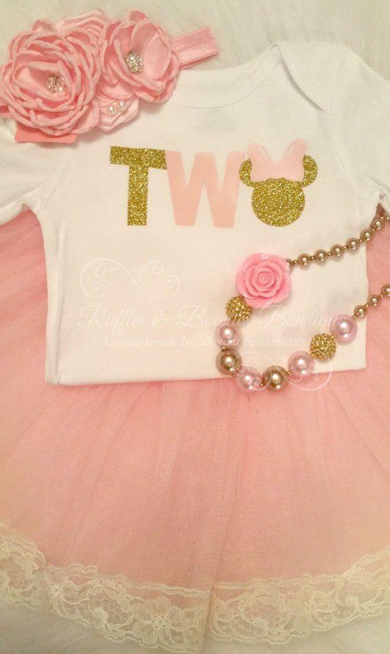 Minnie Second Birthday Pink & Gold Glitter Shirt - Ruffles & Bowties Bowtique - 2