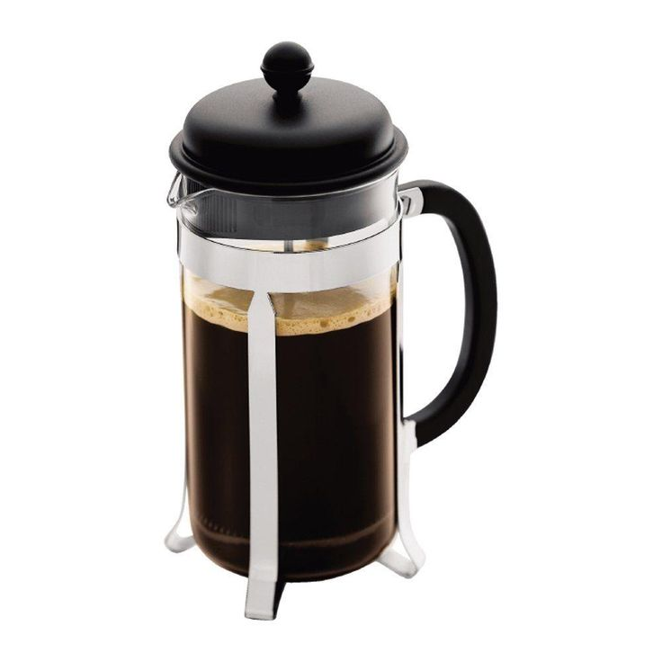 The Bodum Caffettiera French press coffee maker features the classic design and measurements. Some major functional and coffee improvements have been made through the addition of a patented locking lid system and a thermal glass carafe.