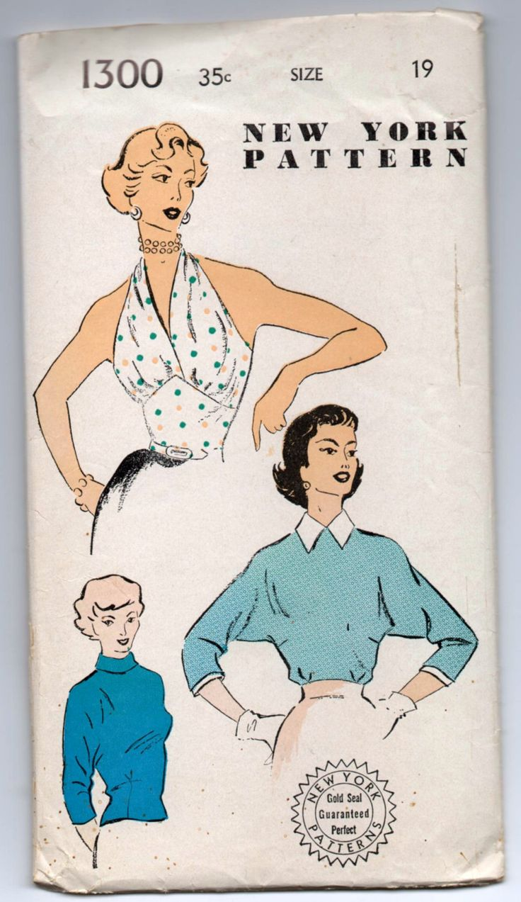 "1950's Halter top or High-Neck Blouse Pattern by New York - Bust 37"" - No. 1300 by backroomfinds on Etsy"