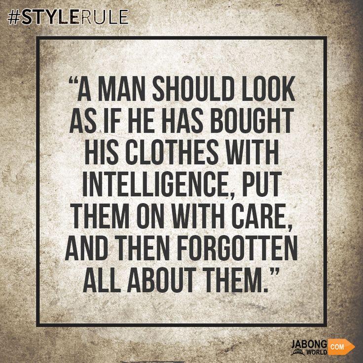 Know it. Accept it. Follow it! #StyleRule #Men  #Fashion