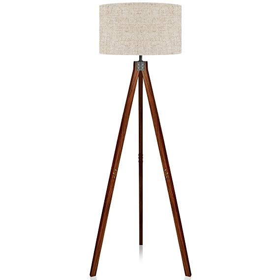 Lepower Wood Tripod Floor Lamp Flaxen Lamp Shade With E26 Lamp Base Modern Design Reading Light For Living Roo Cool Floor Lamps Tripod Floor Lamps Lamp Shade