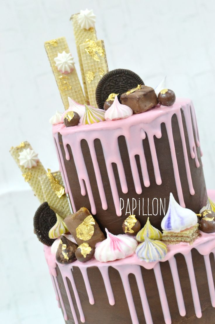 Chocolate drip cake  Dripping cake  Pink cake  Chocolate cake