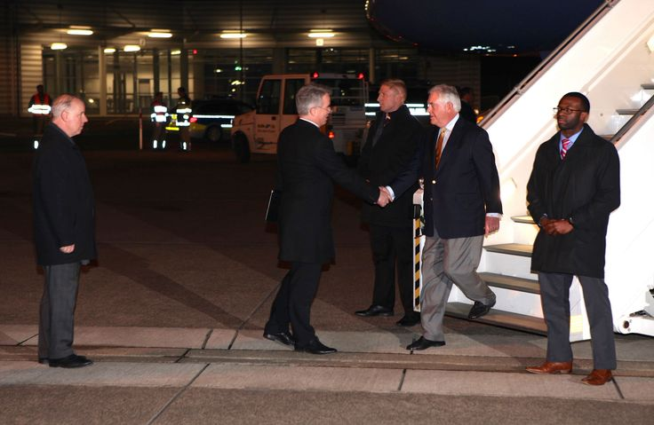 https://flic.kr/p/S6RjaL | Secretary Tillerson is Greeted by German Deputy Chief of Protocol Konrad Arz Von Straussenburg Upon Arrival at the Cologne Bonn Airport | With U.S. Embassy's Chargé d'Affaires Kent Logsdon looking on, U.S. Secretary of State Rex Tillerson is greeted by German Deputy Chief of Protocol Konrad Arz Von Straussenburg upon his arrival at the Cologne Bonn Airport on February 15, 2017, to participate in the G-20 Foreign Ministers' Meeting. This is his first official trip…