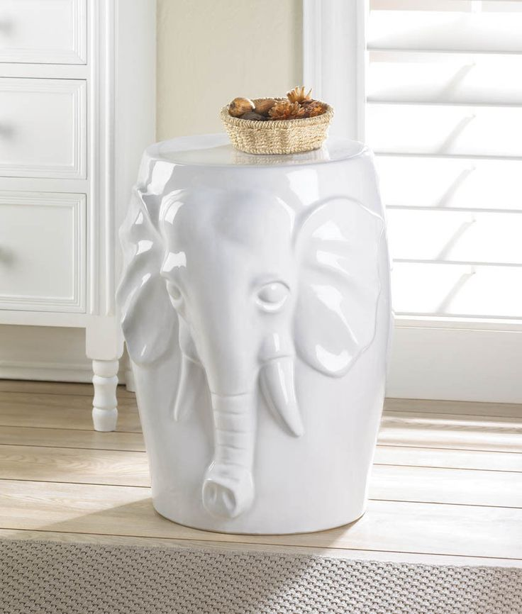Elephant Ceramic Decorative White Side Table Stool Indoor Or  Outdoor~10016509