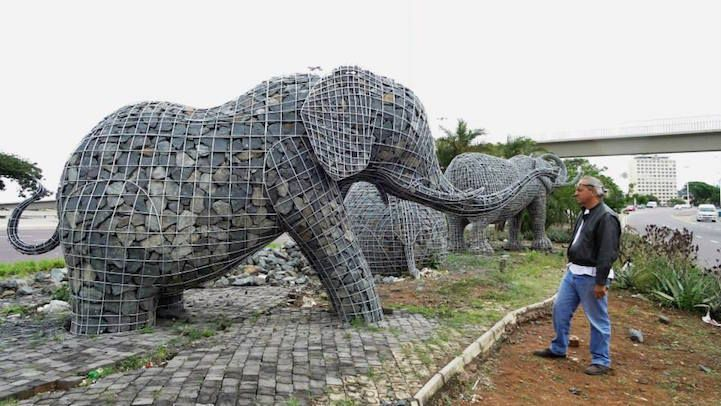 Artist Andries Botha's stone-filled #elephant sculptures finally rise in Durban, South Africa, six years after being commissioned. #art #sculpture