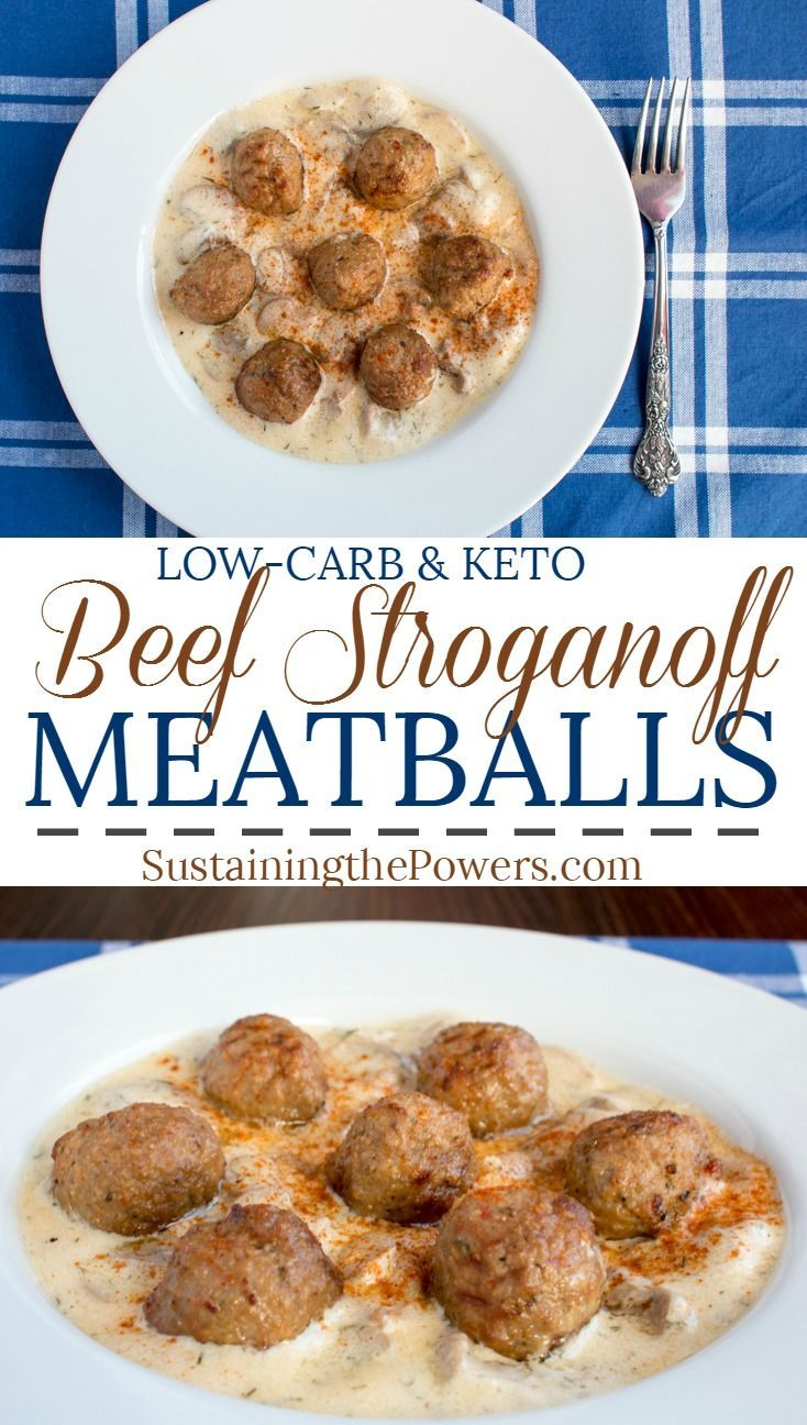 How to Make Low Carb Beef Stroganoff Meatballs |  Creamy sauces and keto go perfectly together. This stroganoff sauce is so good you're going to want to lick it from the spoon. It goes perfectly with meatballs for a quick dinner, or pour it on anything else you can think of. Click through to get the recipe and learn the secret ingredient. Macros for the Sauce: 291 Calories, 26g Fat, 3g Net Carbs (5g Carbs - 2g fiber), 4g Protein.