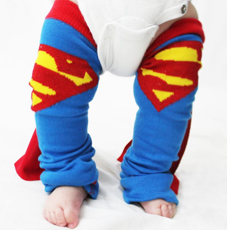 Baby to Toddler Superman Leg Warmers with Cape, Halloween Costume, Dress Up. $15.00, via Etsy.