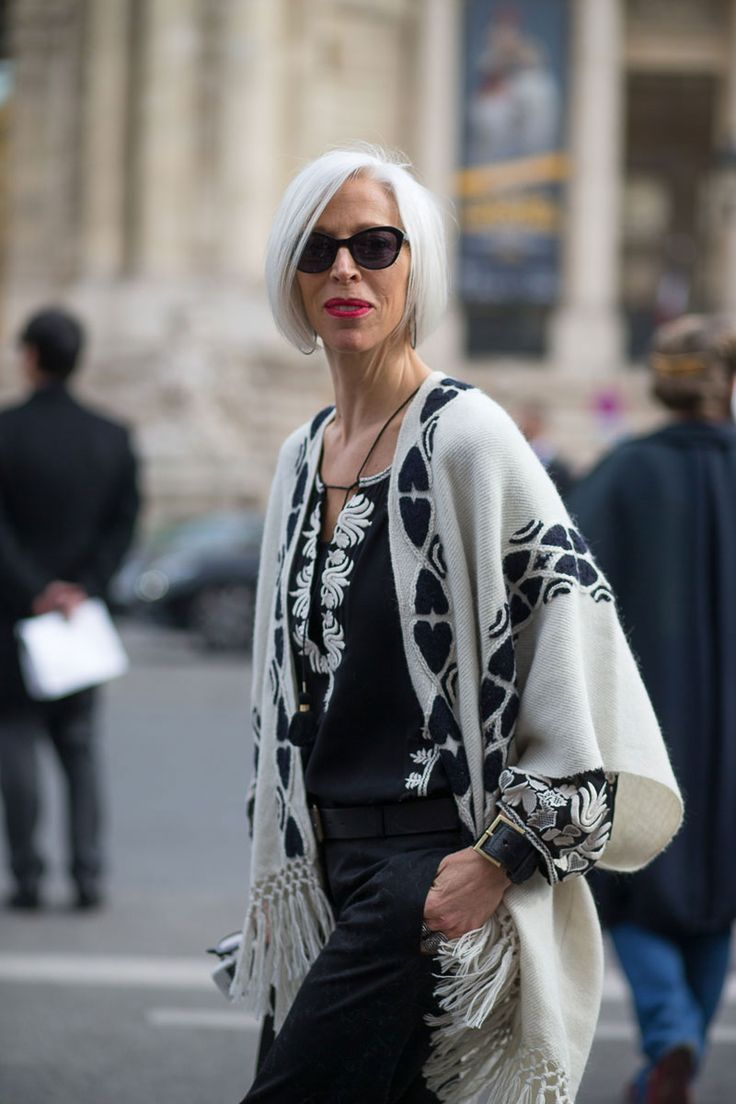 Monochrome is a very wearable look for fashionable 50+'s - classic, not eccentric!