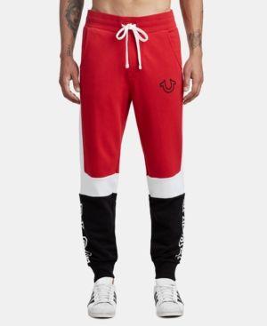 1a5507fe6a True Religion Men's Tri-Color Panel Jogger Sweatpants - Red XXL