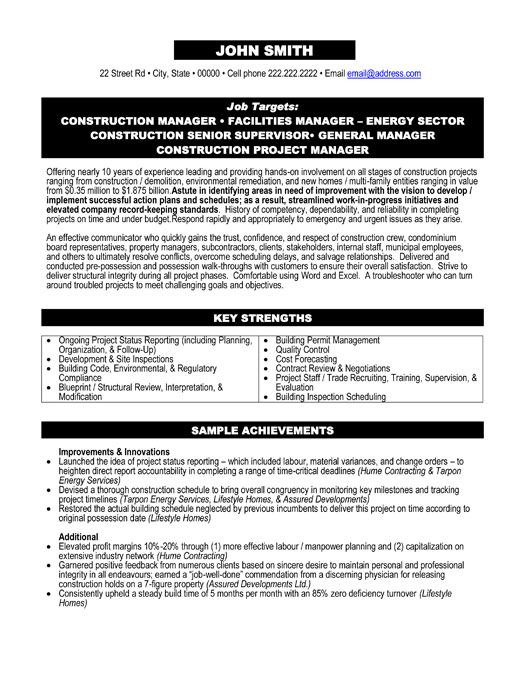 Construction Project Manager Sample Resume  Sample Resume And