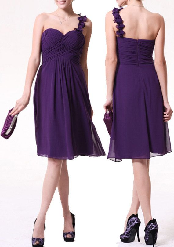 Purple Chiffon Dress with One shoulder strap Evening Party Bridesmaid. $70.00, via Etsy.