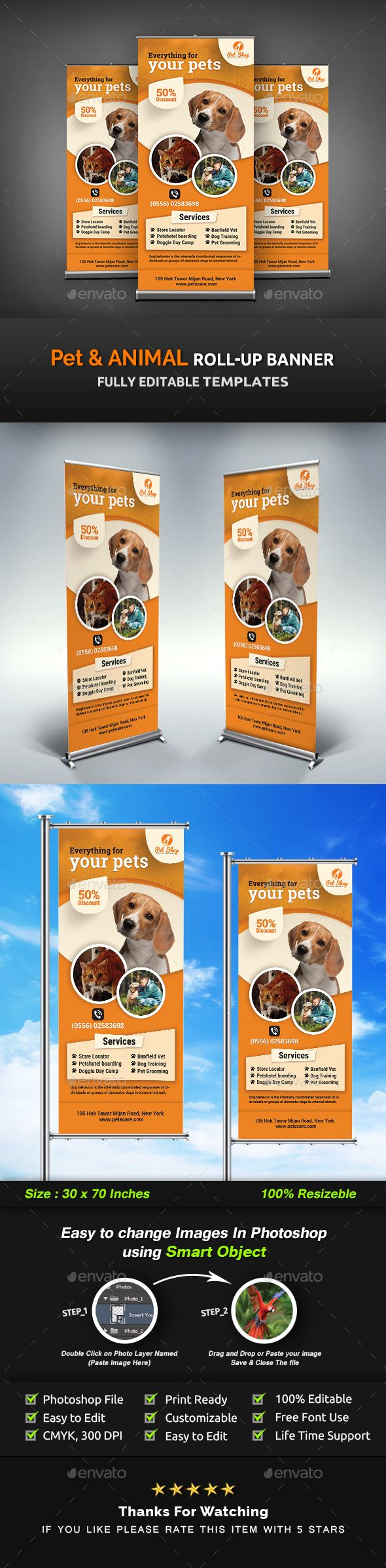 Pet RollUp Banner | Animal RollUp Banner Templates #professional rollup banner #...