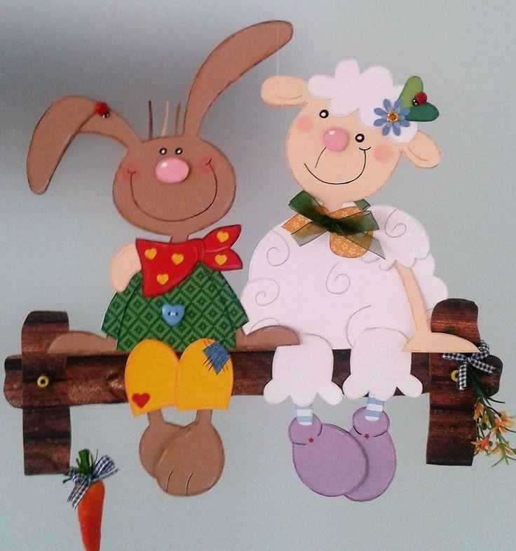 Fensterbild Hase und Schaf- Frühling – Ostern-Küche-Dekoration – Tonkarton! – …