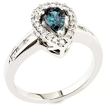 Tamara - Alexandrite ,white diamond and white gold ring.