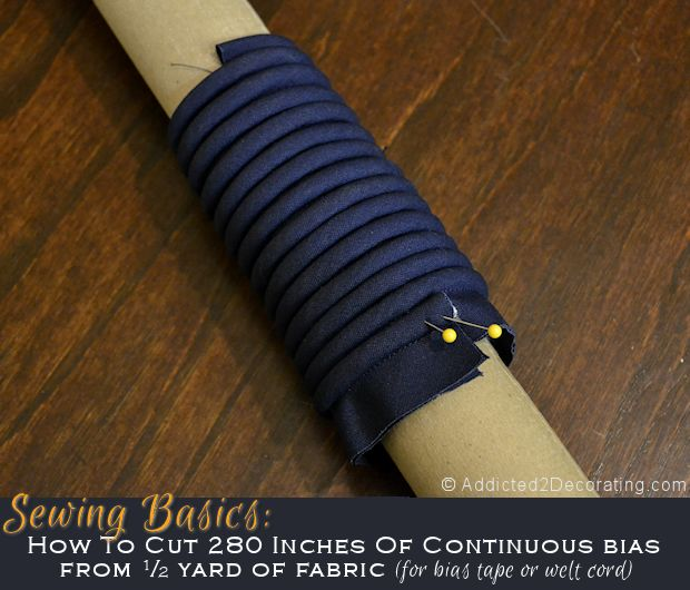 The easy way to make 280 inches of continuous bias for welt cord and bias tape.  Hurrah!
