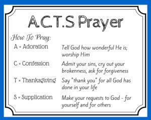 Pray using the A.C.T.S. prayer template. Free printable prayer card