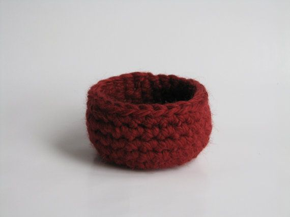 Crochet Basket Christmas Red Extra Small by AGirlNamedMariaDK