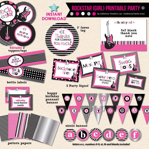 little rockstar girls birthday diy printable party pack - Girl Birthday Party Invitations
