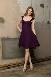 Short Homecoming Dresses 2012, Purple Chiffon Bridesmaid Dress, Plum $95.00
