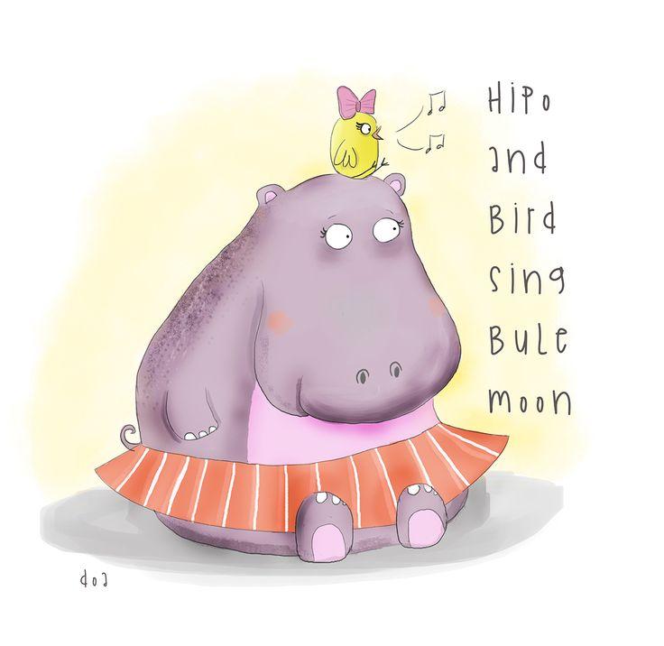 hipo and bird #children #childrenbook #kidbook #kidsbook #drawing #illustration #art #painting