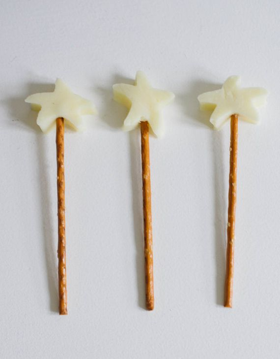 Love this little treat for kids cheese stars with pretzel sticks- magic wands!